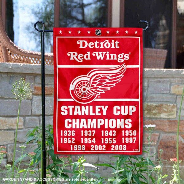 Detroit Red Wings 11 Time Stanley Cup Champions Garden Flag is 12.5x18 inches in size, is made of 2-ply polyester, and has two sided screen printed logos and lettering. Available with Express Next Day Ship, our Detroit Red Wings 11 Time Stanley Cup Champions Garden Flag is NHL Officially Licensed and is double sided.