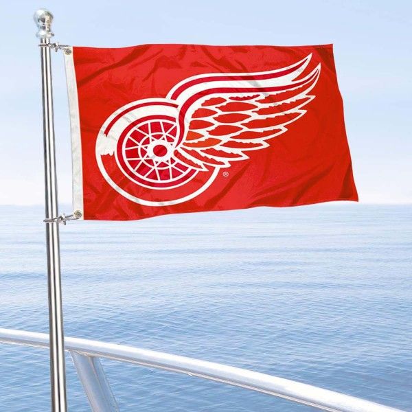 "Our Detroit Red Wings Boat and Nautical Flag is 12""x18"", made of three-ply poly, has a solid header with two metal grommets, and is double sided. This Boat and Nautical Flag for Detroit Red Wings is Officially Licensed by the NHL and can also be used as a motorcycle flag, boat flag, golf cart flag, or recreational flag."