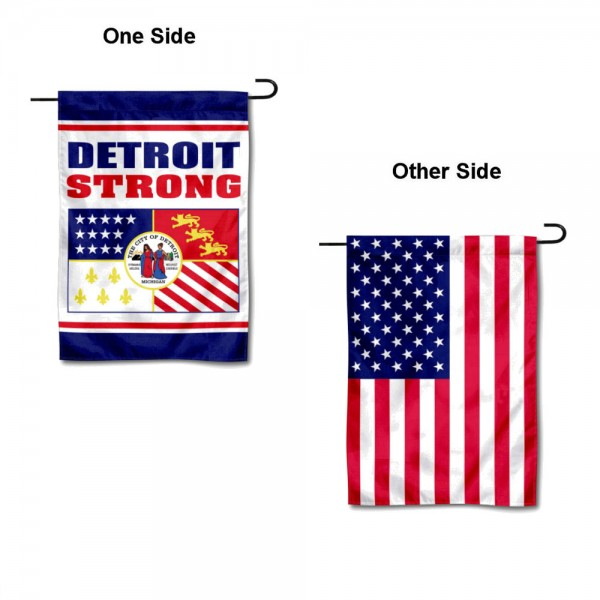 Detroit Strong USA Garden Flag is 13x18 inches in size, is made of 1-layer 300d polyester, screen printed logos and lettering, and is viewable on both sides. Available same day shipping, our Detroit Strong USA Garden Flag is a great addition to your decorative garden flag selections.