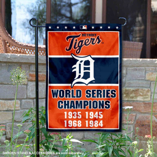 Detroit Tigers 4-Time World Series Champions Garden Flag is 12.5x18 inches in size, is made of 2-ply polyester, and has two sided screen printed logos and lettering. Available with Express Next Day Shipping, our Detroit Tigers 4-Time World Series Champions Garden Flag is MLB Genuine Merchandise and is double sided.