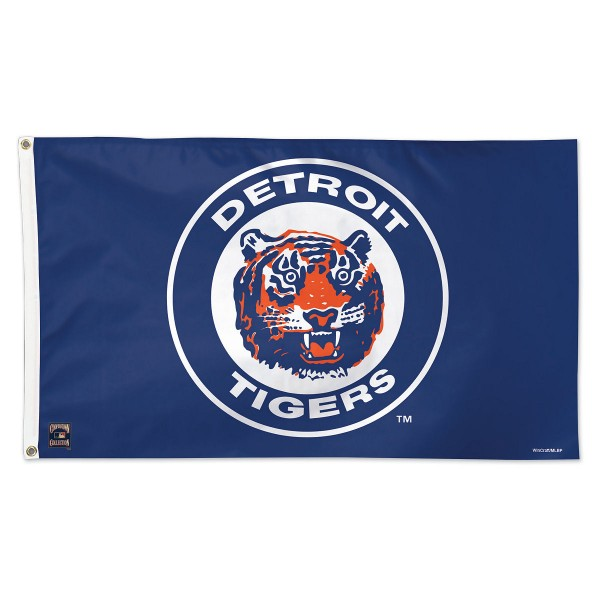 Detroit Tigers Cooperstown Logo Flag measures 3x5 feet, is made of polyester, offers quad-stitched flyends, has two metal grommets, and is viewable from both sides with a reverse image on the opposite side. Our Detroit Tigers Flag is Genuine MLB Merchandise.