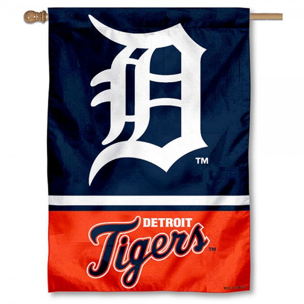 Detroit Tigers Double Sided House Flag is screen printed with Detroit Tigers logos, is made of 2-ply 100% polyester, and is two sided and double sided. Our banners measure 28x40 inches and hang vertically with a top pole sleeve to insert your banner pole or flagpole.
