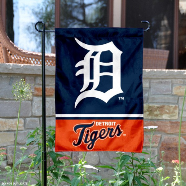 Detroit Tigers Garden Flag is 12.5x18 inches in size, is made of 2-ply polyester, and has two sided screen printed logos and lettering. Available with Express Next Day Shipping, our Detroit Tigers Garden Flag is MLB Genuine Merchandise and is double sided.