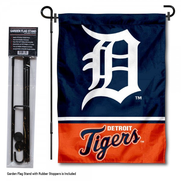 "Detroit Tigers Logo Garden Flag and Stand kit includes our 13""x18"" garden banner which is made of 2 ply poly with liner and has screen printed licensed logos. Also, a 40""x17"" inch garden flag stand is included so your Detroit Tigers Logo Garden Flag and Stand is ready to be displayed with no tools needed for setup. Fast Overnight Shipping is offered and the flag is Officially Licensed and Approved by the selected team."