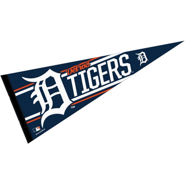 This Detroit Tigers Pennant measures 12x30 inches, is constructed of felt, and is single sided screen printed with the Detroit Tigers logo and insignia. Each Detroit Tigers Pennant is a MLB Genuine Merchandise product.