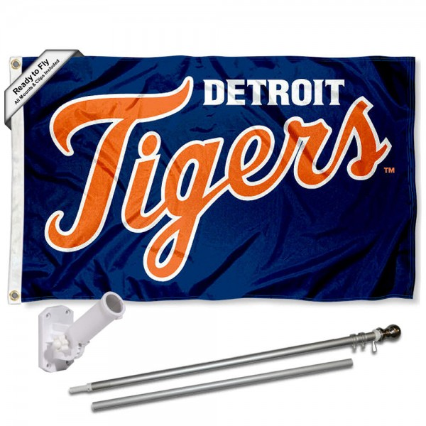 Detroit Tigers Script Flag Pole and Bracket Kit