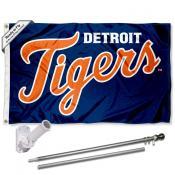 Detroit Tigers Script Flag Pole and Bracket Kit