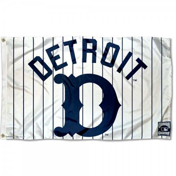 Our Detroit Tigers Vintage Flag is double sided, made of poly, 3'x5', has two grommets, and four-stitched fly ends. These Detroit Tigers Vintage Flags are Officially Licensed by the MLB.