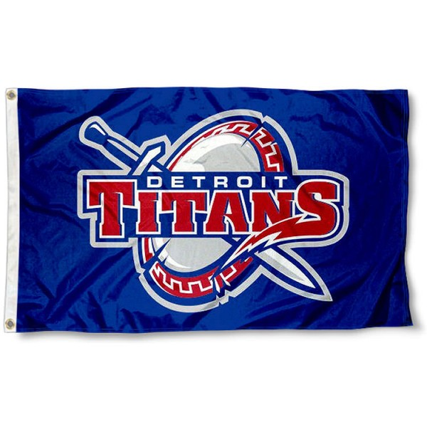 Detroit Titans Flag measures 3x5 feet, is made of 100% polyester, offers quadruple stitched flyends, has two metal grommets, and offers screen printed NCAA team logos and insignias. Our Detroit Titans Flag is officially licensed by the selected university and NCAA.