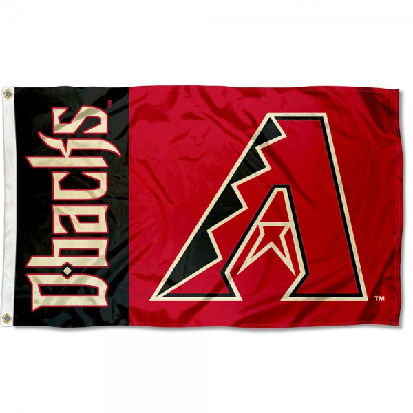 The Diamondbacks Outdoor Flag is four-stitched bordered, double sided, made of poly, 3'x5', and has two grommets. These Arizona Diamondbacks Outdoor Flags are MLB Genuine Merchandise.