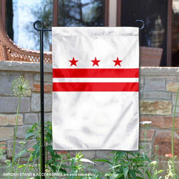 District of Columbia Garden Flag is 13x18 inches in size, is made of thick 1-layer polyester, screen printed logos and lettering, and is viewable on both sides. Available same day shipping, our District of Columbia Garden Flag is a great addition to your decorative garden flag selections.