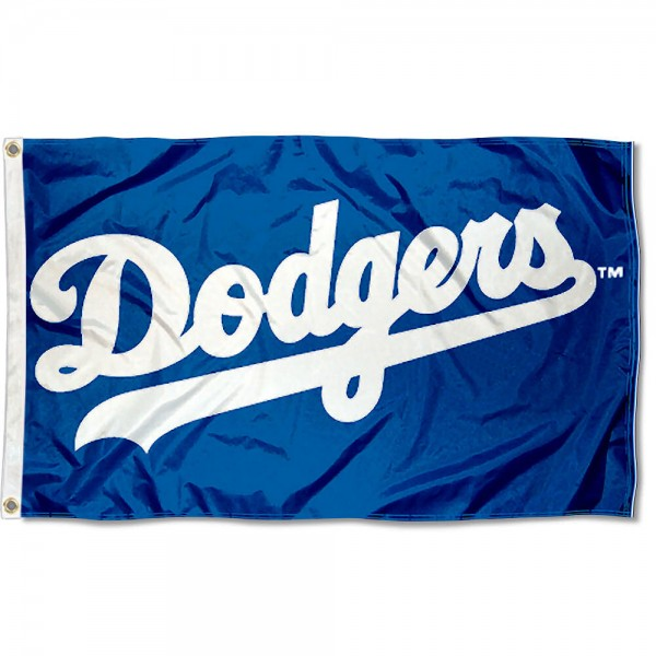 Our Dodgers Flag is double sided, made of poly, 3'x5', has two grommets, and four-stitched fly ends. These Dodgers Flags are Officially Licensed by the MLB.