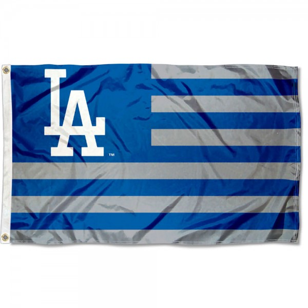 Dodgers Nation Flag measures 3x5 feet, is made of polyester, offers quad-stitched flyends, has two metal grommets, and is viewable from both sides with a reverse image on the opposite side. Our Dodgers Nation Flag is Genuine MLB Merchandise.
