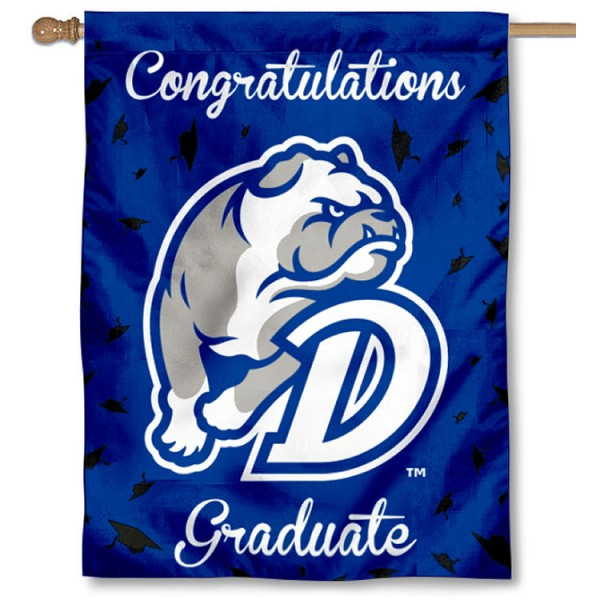 Drake Bulldogs Congratulations Graduate Flag measures 30x40 inches, is made of poly, has a top hanging sleeve, and offers dye sublimated Drake Bulldogs logos. This Decorative Drake Bulldogs Congratulations Graduate House Flag is officially licensed by the NCAA.