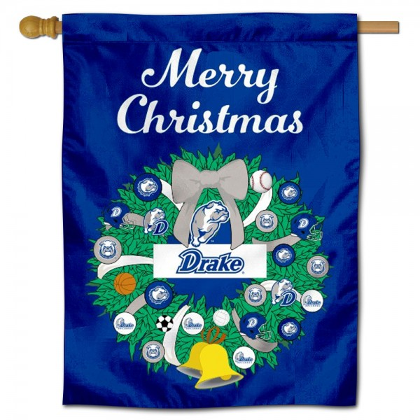 Drake Bulldogs Happy Holidays Banner Flag measures 30x40 inches, is made of poly, has a top hanging sleeve, and offers dye sublimated Drake Bulldogs logos. This Decorative Drake Bulldogs Happy Holidays Banner Flag is officially licensed by the NCAA.