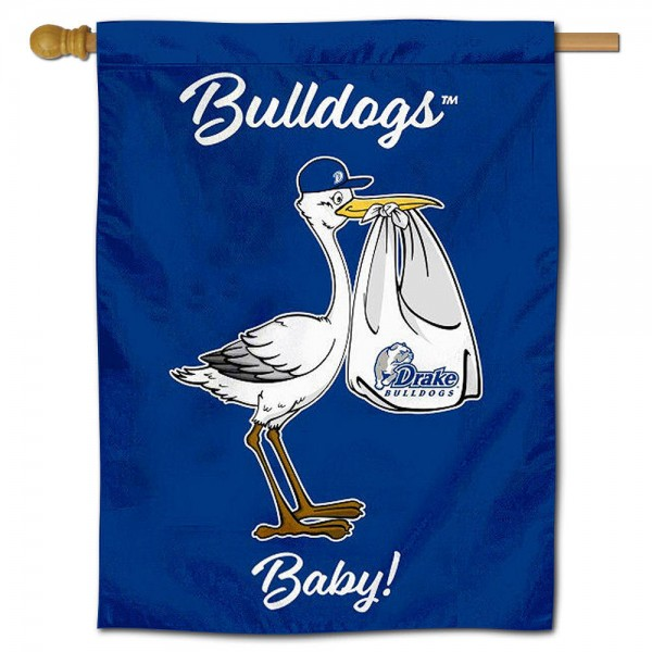 Drake Bulldogs New Baby Flag measures 30x40 inches, is made of poly, has a top hanging sleeve, and offers dye sublimated Drake Bulldogs logos. This Decorative Drake Bulldogs New Baby House Flag is officially licensed by the NCAA.