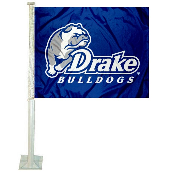 Drake University Car Window Flag measures 12x15 inches, is constructed of sturdy 2 ply polyester, and has dye sublimated school logos which are readable and viewable correctly on both sides. Drake University Car Window Flag is officially licensed by the NCAA and selected university.