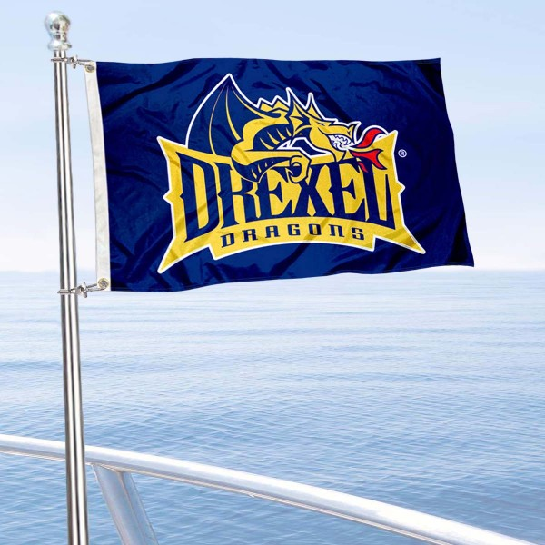 Drexel Dragons Boat and Mini Flag is 12x18 inches, polyester, offers quadruple stitched flyends for durability, has two metal grommets, and is double sided. Our mini flags for Drexel University are licensed by the university and NCAA and can be used as a boat flag, motorcycle flag, golf cart flag, or ATV flag.