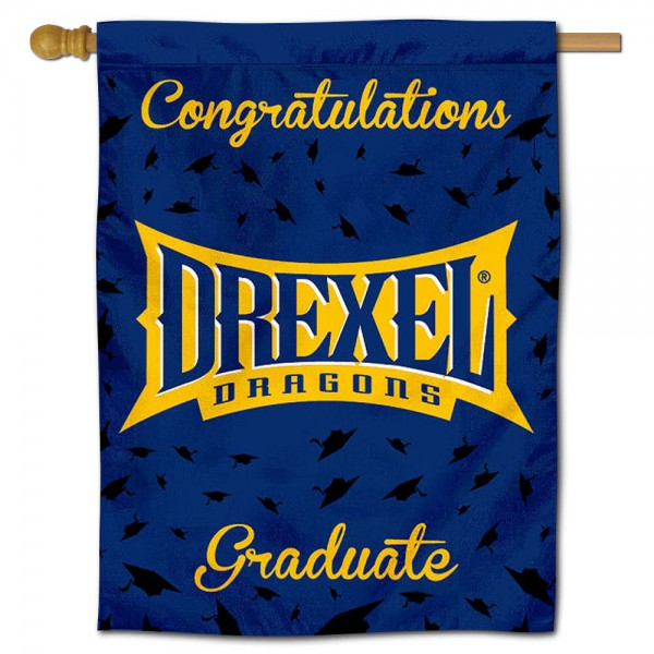 Drexel Dragons Congratulations Graduate Flag measures 30x40 inches, is made of poly, has a top hanging sleeve, and offers dye sublimated Drexel Dragons logos. This Decorative Drexel Dragons Congratulations Graduate House Flag is officially licensed by the NCAA.