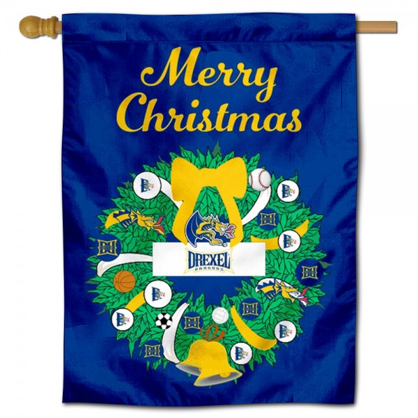Drexel Dragons Happy Holidays Banner Flag measures 30x40 inches, is made of poly, has a top hanging sleeve, and offers dye sublimated Drexel Dragons logos. This Decorative Drexel Dragons Happy Holidays Banner Flag is officially licensed by the NCAA.