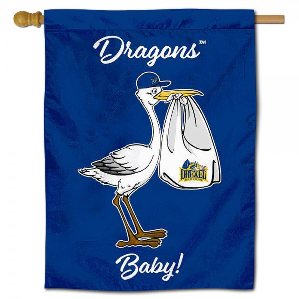 Drexel Dragons New Baby Flag measures 30x40 inches, is made of poly, has a top hanging sleeve, and offers dye sublimated Drexel Dragons logos. This Decorative Drexel Dragons New Baby House Flag is officially licensed by the NCAA.
