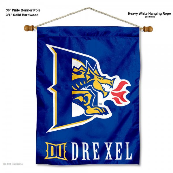 """Drexel Dragons Wall Banner is constructed of polyester material, measures a large 30""""x40"""", offers screen printed athletic logos, and includes a sturdy 3/4"""" diameter and 36"""" wide banner pole and hanging cord. Our Drexel Dragons Wall Banner is Officially Licensed by the selected college and NCAA."""