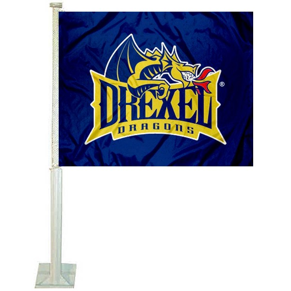 Drexel University Car Window Flag measures 12x15 inches, is constructed of sturdy 2 ply polyester, and has dye sublimated school logos which are readable and viewable correctly on both sides. Drexel University Car Window Flag is officially licensed by the NCAA and selected university.