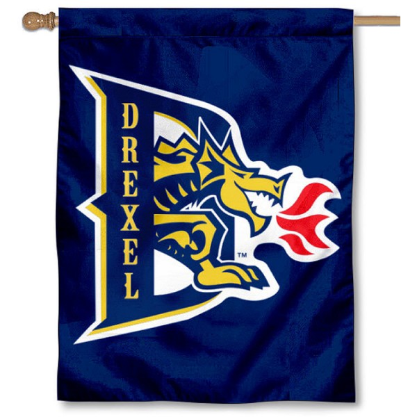Drexel University House Flag is a vertical house flag which measures 30x40 inches, is made of 2 ply 100% polyester, offers dye sublimated NCAA team insignias, and has a top pole sleeve to hang vertically. Our Drexel University House Flag is officially licensed by the selected university and the NCAA