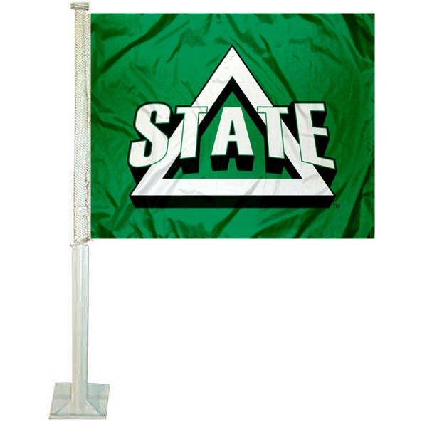 DSU Statesmen Car Window Flag measures 12x15 inches, is constructed of sturdy 2 ply polyester, and has screen printed school logos which are readable and viewable correctly on both sides. DSU Statesmen Car Window Flag is officially licensed by the NCAA and selected university.
