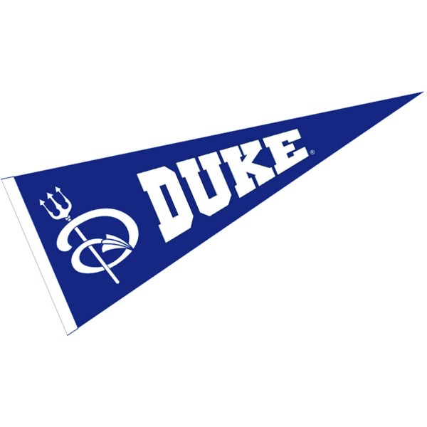 Duke Blue Devils Flock Printed Wool Pennant measures 12x30 inches, is made of wool, and the School logos are printed with raised lettering. Our Duke Blue Devils Flock Printed Wool Pennant is Officially Licensed and Approved by the University or Institution.