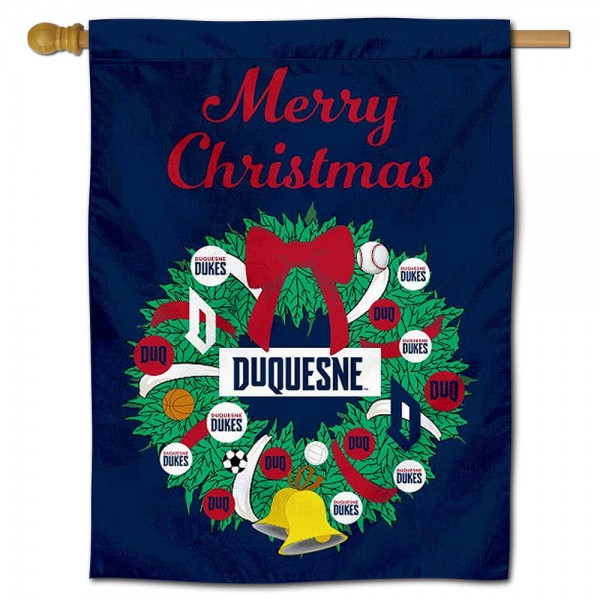 Duquesne Dukes Happy Holidays Banner Flag measures 30x40 inches, is made of poly, has a top hanging sleeve, and offers dye sublimated Duquesne Dukes logos. This Decorative Duquesne Dukes Happy Holidays Banner Flag is officially licensed by the NCAA.