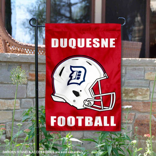 Duquesne Dukes Helmet Yard Garden Flag is 13x18 inches in size, is made of 2-layer polyester with Liner, screen printed university athletic logos and lettering, and is readable and viewable correctly on both sides. Available same day shipping, our Duquesne Dukes Helmet Yard Garden Flag is officially licensed and approved by the university and the NCAA.
