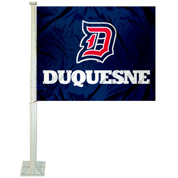 Duquesne Dukes Logo Car Flag measures 12x15 inches, is constructed of sturdy 2 ply polyester, and has screen printed school logos which are readable and viewable correctly on both sides. Duquesne Dukes Logo Car Flag is officially licensed by the NCAA and selected university.