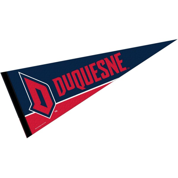 Duquesne Pennant consists of our full size sports pennant which measures 12x30 inches, is constructed of felt, is single sided imprinted, and offers a pennant sleeve for insertion of a pennant stick, if desired. This Duquesne University Felt Pennant is officially licensed by the selected university and the NCAA.