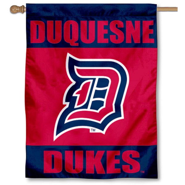 Duquesne University House Flag is a vertical house flag which measures 30x40 inches, is made of 2 ply 100% polyester, offers dye sublimated NCAA team insignias, and has a top pole sleeve to hang vertically. Our Duquesne University Dukes House Flag is officially licensed by the selected university and the NCAA