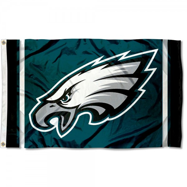 Our Eagles NFL Logo Flag is double sided, made of poly, 3'x5', has two grommets, and four-stitched fly ends. These Eagles NFL Logo Flags are Officially Licensed by the NFL.
