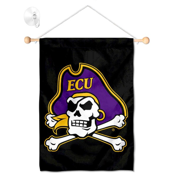 """East Carolina Pirates Banner with Suction Cup kit includes our 13""""x18"""" garden banner which is made of 2 ply poly with liner and has screen printed licensed logos. Also, a 17"""" wide banner pole with suction cup is included so your East Carolina Pirates Banner with Suction Cup is ready to be displayed with no tools needed for setup. Fast Overnight Shipping is offered and the flag is Officially Licensed and Approved by the selected team."""