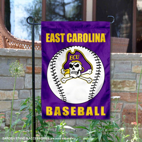 East Carolina Pirates Baseball Team Garden Flag is 13x18 inches in size, is made of 2-layer polyester, screen printed East Carolina University Baseball athletic logos and lettering. Available with Express Shipping, Our East Carolina Pirates Baseball Team Garden Flag is officially licensed and approved by East Carolina University Baseball and the NCAA.