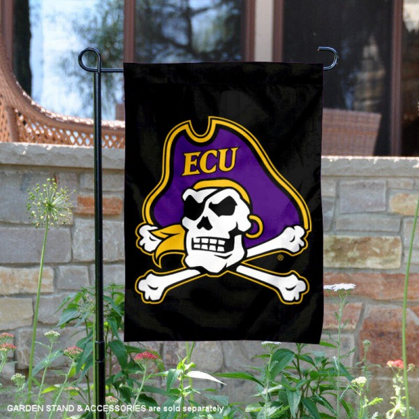 East Carolina Pirates Black ECU Pirate Garden Flag is 13x18 inches in size, is made of 2-layer polyester, screen printed university athletic logos and lettering, and is readable and viewable correctly on both sides. Available same day shipping, our East Carolina Pirates Black ECU Pirate Garden Flag is officially licensed and approved by the university and the NCAA.