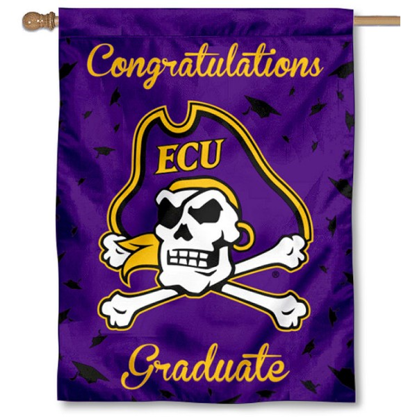 East Carolina Pirates Congratulations Graduate Flag measures 30x40 inches, is made of poly, has a top hanging sleeve, and offers dye sublimated East Carolina Pirates logos. This Decorative East Carolina Pirates Congratulations Graduate House Flag is officially licensed by the NCAA.