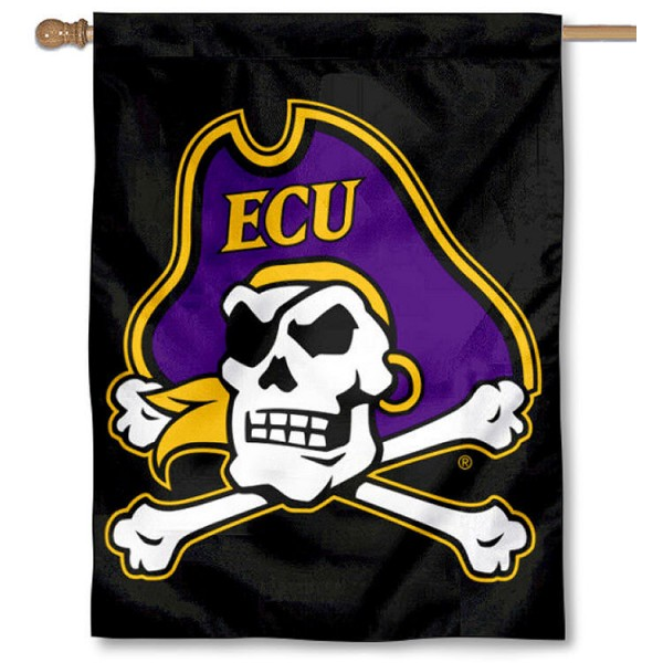 East Carolina Pirates Double Sided House Flag is a vertical house flag which measures 30x40 inches, is made of 2 ply 100% polyester, offers screen printed NCAA team insignias, and has a top pole sleeve to hang vertically. Our East Carolina Pirates Double Sided House Flag is officially licensed by the selected university and the NCAA.