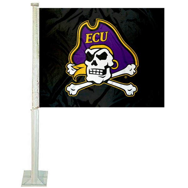 East Carolina Pirates ECU Pirate Car Flag measures 12x15 inches, is constructed of sturdy 2 ply polyester, and has screen printed school logos which are readable and viewable correctly on both sides. East Carolina Pirates ECU Pirate Car Flag is officially licensed by the NCAA and selected university.