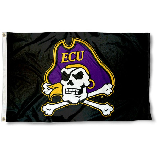 East Carolina Pirates ECU Pirate Head Flag measures 3x5 feet, is made of 100% polyester, offers quadruple stitched flyends, has two metal grommets, and offers screen printed NCAA team logos and insignias. Our East Carolina Pirates ECU Pirate Head Flag is officially licensed by the selected university and NCAA.