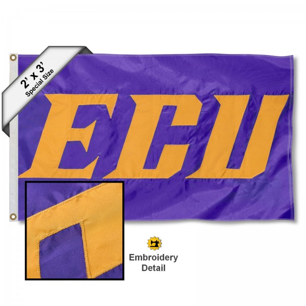 East Carolina Pirates ECU Small 2'x3' Flag measures 2x3 feet, is made of 100% nylon, offers quadruple stitched flyends, has two brass grommets, and offers embroidered East Carolina Pirates ECU logos, letters, and insignias. Our East Carolina Pirates ECU Small 2'x3' Flag is Officially Licensed by the selected university.
