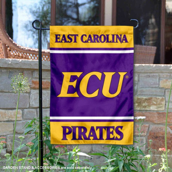 East Carolina Pirates Garden Flag is 13x18 inches in size, is made of 2-layer polyester, screen printed logos and lettering. Available with Same Day Express Shipping, Our East Carolina Pirates Garden Flag is officially licensed and approved by the NCAA.