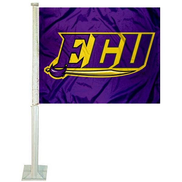 East Carolina Pirates Logo Car Flag measures 12x15 inches, is constructed of sturdy 2 ply polyester, and has screen printed school logos which are readable and viewable correctly on both sides. East Carolina Pirates Logo Car Flag is officially licensed by the NCAA and selected university.