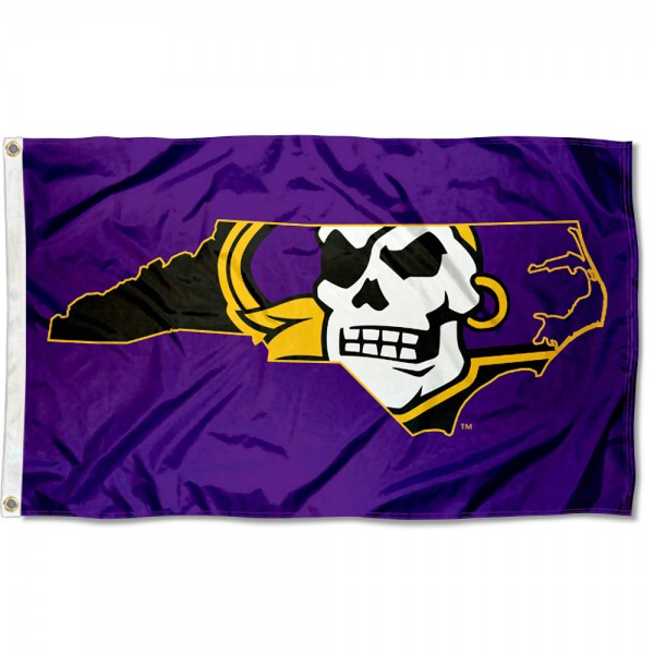 East Carolina Pirates State Flag measures 3x5 feet, is made of 100% polyester, offers quadruple stitched flyends, has two metal grommets, and offers screen printed NCAA team logos and insignias. Our East Carolina Pirates State Flag is officially licensed by the selected university and NCAA.