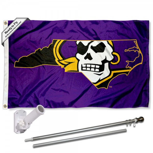 Our East Carolina Pirates State Flag Pole and Bracket Kit includes the flag as shown and the recommended flagpole and flag bracket. The flag is made of polyester, has quad-stitched flyends, and the NCAA Licensed team logos are double sided screen printed. The flagpole and bracket are made of rust proof aluminum and includes all hardware so this kit is ready to install and fly.