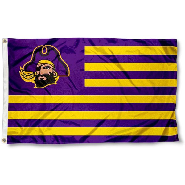 East Carolina Pirates Stripes Flag measures 3'x5', is made of polyester, offers double stitched flyends for durability, has two metal grommets, and is viewable from both sides with a reverse image on the opposite side. Our East Carolina Pirates Stripes Flag is officially licensed by the selected school university and the NCAA.
