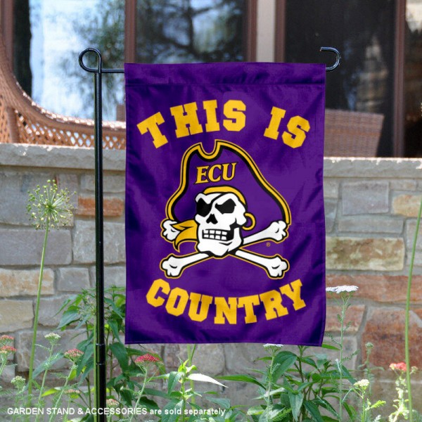 East Carolina University Country Garden Flag is 13x18 inches in size, is made of 2-layer polyester, screen printed university athletic logos and lettering, and is readable and viewable correctly on both sides. Available same day shipping, our East Carolina University Country Garden Flag is officially licensed and approved by the university and the NCAA.